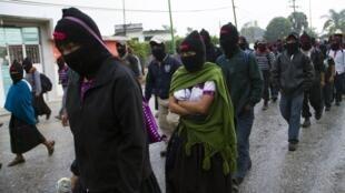 Miembros del EZLN participaron de una marcha en Ocosingo, estado de Chiapas, el pasado 21 de diciembre de 2012.