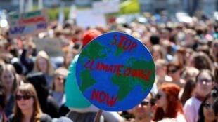 Une manifestation de jeunes contre le réchauffement climatique, à Vienne en Autriche, le 24 mai 2019, dans le cadre des «Fridays for future».
