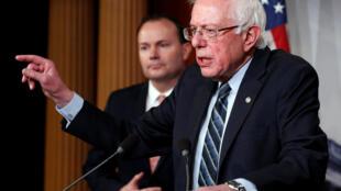 Senator Bernie Sanders speaking during the Senate vote on a resolution ending US military support for the war in Yemen.