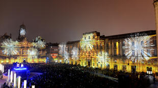 La Place des Terreaux durante la Fête des Lumières 2019.