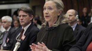 Hillary Clinton, secretária de Estado americana, discursa na ONU, nesta quarta-feira.
