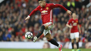 Manchester United's Marcos Rojo in action against Chelsea on Aprile 16, 2017.