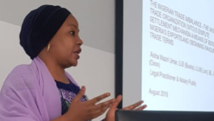 Nigeria's Inara Foundation CEO Aisha Waziri Umar, speaking at the Centre for African Research on Enterprise and Economic Development conference, Scotland