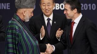 Президент Афганистана Хамид Карзай, генеральный секретарь ООН Пан Ги Мун  и генеральный секретарь НАТО Андерс Фог Расмуссен