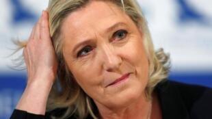 Marine Le Pen, chef du parti d'extrême droite français du Rassemblement national, à Tallinn, en Estonie, le 14 mai 2019.