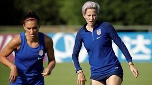 Alex Morgan(l) and Megan Rapinoe of the US during training before the clash with France.