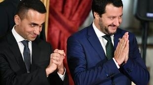 "France says that Italian Deputy PMs Luigi Di Maio (L) and Matteo Salvini (R) have made ""repeated"" and ""outrageous"" statements about France since they took power in Italy in June."