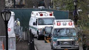 Những chiếc xe cứu thương nối đuôi nhau chở bệnh nhân Covid-19 đến bệnh viện được dựng tạm ở Central Park, New York, Mỹ.