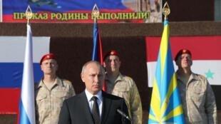 Владимир Путин прилетел в Сирию и приказал начать вывод значительной части российского военного контингента, 11 декабря 2017 г.