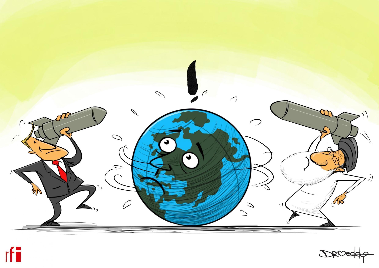 Kibonzo hiki kinaonesha  hali ya wasiwasi kati ya Marekani na Iran baada ya kuuawa kwa Jenerali wa Iran Qassem Soleimani. 09/01/2020