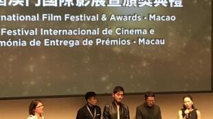 """A equipa do filme """"Wrath of silence"""" no Festival de cinema de Macau a 11 de Dezembro de 2017."""