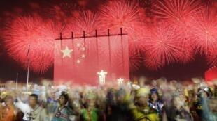 Pháo hoa tại Quảng trường Thiên An Môn, Trung Quốc, nhân ngày Quốc Khánh 01/10/2019.