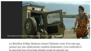 """Matéria sobre o filme """"Gabriel e a Montanha"""", publicada no jornal Libération desta quarta-feira (30)."""