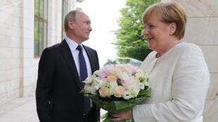روابط میان روسیه و آلمان، در پی بحران در اوکراین در سال ۲۰۱۴ به تیرگی گرایید. اما پس از سفر آنگلا مرکل به سوچی در ماه می، پوتین با اهدای یک دسته گل از آنگلا مرکل استقبال کرد..