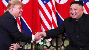 U.S. President Donald Trump and North Korean leader Kim Jong Un shake hands before their one-on-one chat during the second U.S.-North Korea summit at the Metropole Hotel in Hanoi, Vietnam February 27, 2019.