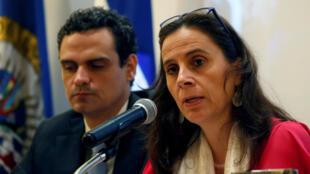 La relatora de la CIDH para Nicaragua, Antonia Urrejola, en conferencia de prensa en Managua, este 21 de Mayo de 2018.