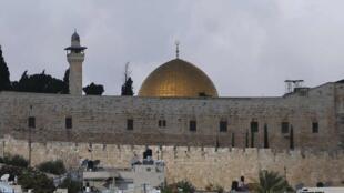 Vista panorâmica de Jérusalem e da mesquita al-Aqsa.