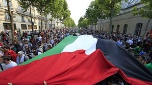 Pro-Palestinian protesters in Paris, 23 July 2014.