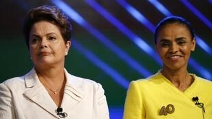 Dilma Rousseffe Marina Silva no último debate presidencial.