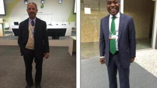 O director do gabinete de alterações climáticas de Angola, Giza Martins (drt), e o director-geral do ambiente de São Tomé e Príncipe,  Arlindo Carvalho (esq)