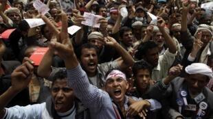 Anti-Saleh demonstrators on Sunday