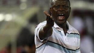 Senegal's coach Amara Traore reacts during their match against Libya at Estadio de Bata