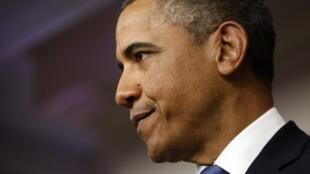 """O presidente americano, Barack Obama, em coletiva de imprensa na Casa Branca sobre o acordo contra o """"abismo fiscal"""" na última sexta-feira."""