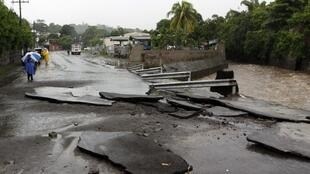 A street near the Acelhuate river in El Salvador: Alex hit Central America earlier this week before moving up to the US