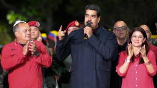 O Presidente, Nicolas Maduro, durante um comício e apos a divulgação dos resultados das eleições regionais, 15 Outubro 2017.