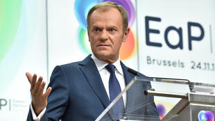 Le président du Conseil européen Donald Tusk, lors d'une conférence de presse après le 5e sommet du «Partenariat oriental», à Bruxelles, le 24 novembre 2017.