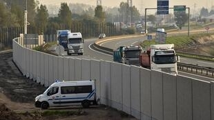 The 'Great Wall of Calais', aimed at preventing migrants and refugees from attempting to reach Britain