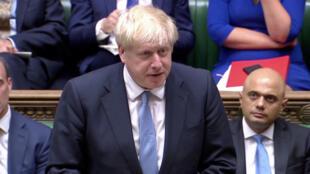 英國首相約翰遜於2019年7月25日議會照片。