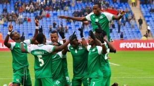 La joie des joueurs zambiens après le premier but face à la Côte d'Ivoire, le 18 janvier 2018.