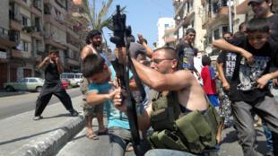 Photo d'un tir de célébration, au Liban.