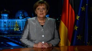 Thủ tướng Đức Angela Merkel chụp ảnh sau khi thu trước bài diễn văn chúc mừng năm mới, Berlin, ngày 30/12/2018.
