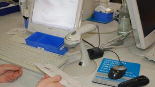 Computador com leitor de código de barras, na Alemanha