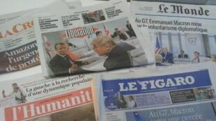 Primeiras páginas dos jornais franceses 26 de agosto de 2019