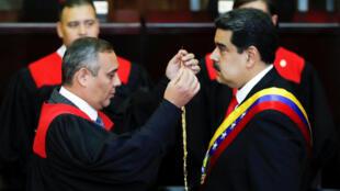 Nicolas Maduro sworn in as new president of Venezuela, 10 January 2019.