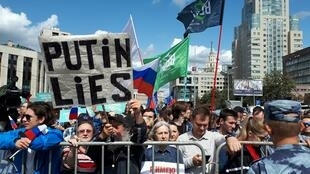 Trên 20.000 người biểu tình tại Matxcơva ngày 21/07/2019 để đòi hỏi bầu cử tự do, công bằng.
