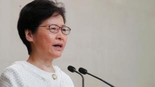 Trưởng đặc khu Lâm Trịnh Nguyệt Nga họp báo Hồng Kông ngày 10/09/2019.
