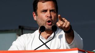 Rahul Gandhi, President of  theCongress party, during a public meeting in Gandhinagar, Gujarat.