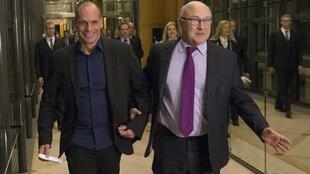 French Finance Minister  Michel Sapin with his Greek counterpart Yanis Varoufakis in Paris at the beginning of the month