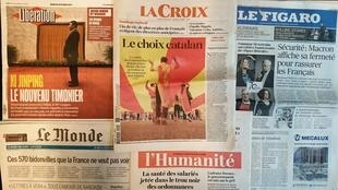 Jornais franceses desta quinta-feira 19 de Outubro de 2017.