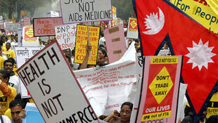 Protesters from across Asia take part in the demonstration in New Delhi, 2 March 2011.