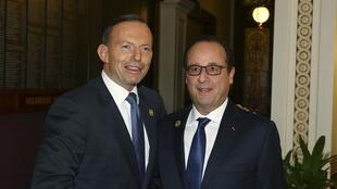 French President François Hollande and Australian Prime Minister Tony Abbott in Brisbane, 15 November 2014.