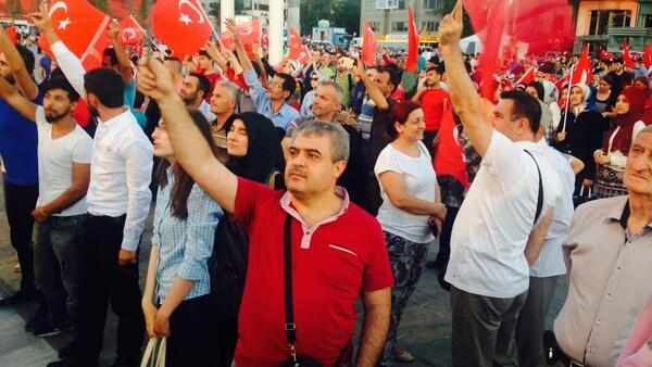 People gather in Istanbul's Taksim Square to celebrate the defeat of the putschists.