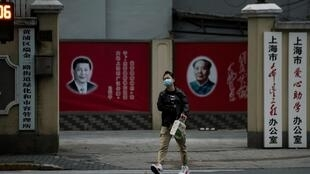 Trên một phố ở Thượng Hải, Trung Quốc, thời dịch virus corona. (Ảnh chụp ngày 10/02/2020)
