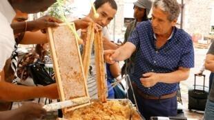 Ibrahim Karout anima un taller de apicultura para los refugiados y solicitantes de asilo