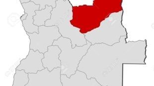 Região das Lundas Norte e Sul a vermelho no mapa de Angola