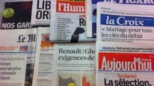 Primeiras páginas diários franceses 29/1/2013